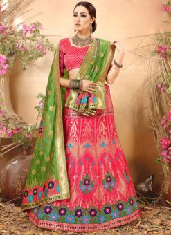 Pink Zari Weaving Wedding Designer Banarasi Silk Lehenga Choli