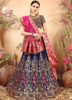 Blue Designer Banarasi Silk Zari Weaving Wedding Lehenga Choli