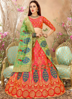 Pink Designer Zari Weaving Wedding Banarasi Silk Lehenga Choli