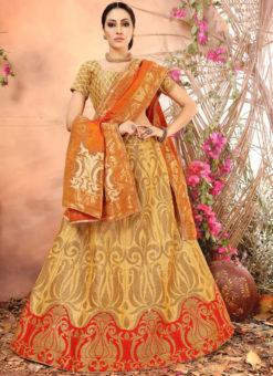 Beige Designer Zari Weaving Banarasi Silk Wedding Lehenga Choli