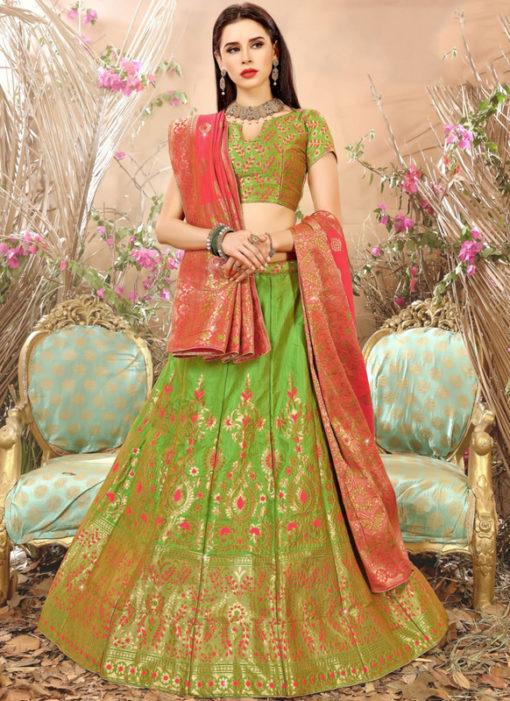 Green Zari Weaving Wedding Designer Banarasi Silk Lehenga Choli