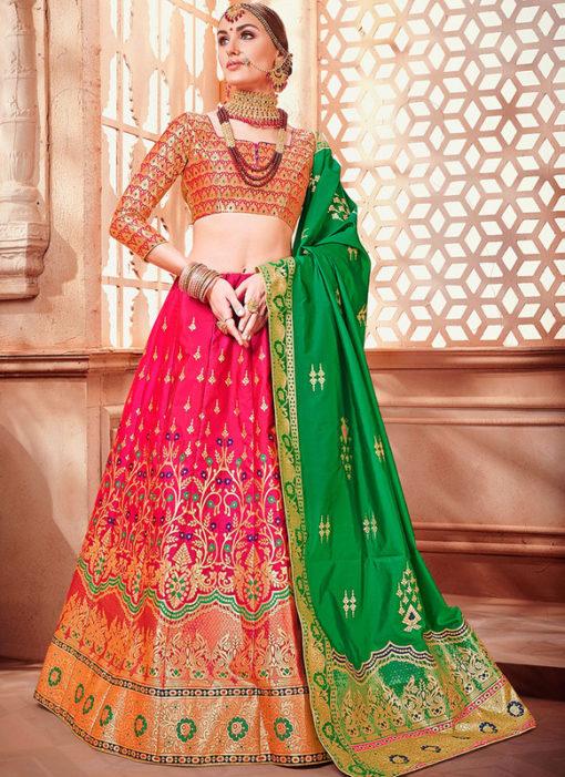 Banarasi Silk Designer Zari Weaving Pink Wedding Lehenga Choli