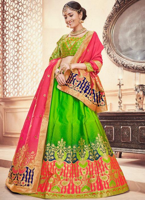 Banarasi Silk Zari Weaving Green Designer Wedding Lehenga Choli