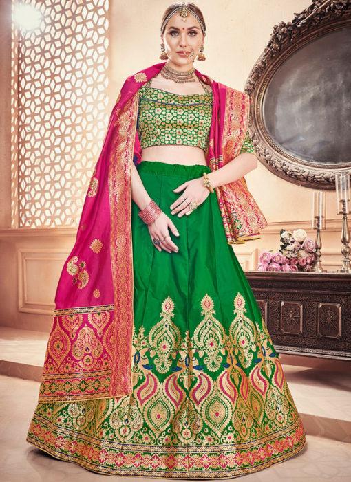 Zari Weaving Designer Banarasi Silk Wedding Green Lehenga Choli