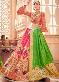Zari Weaving Pink Banarasi Silk Designer Wedding Lehenga Choli