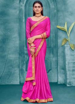 Pink Chiffon Weaving Party Wear Lace Border Saree