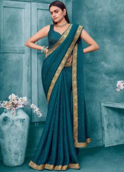 Blue Weaving Party Wear Lace Border Designer Chiffon Saree