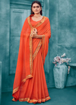 Orange Weaving Lace Border Designer Chiffon Party Wear Saree