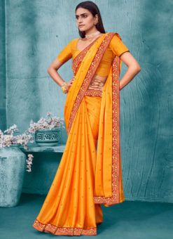 Mustard Lace Border Designer Weaving Party Wear Chiffon Saree