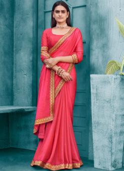 Baby Pink Designer Weaving Party Wear Lace Border Chiffon Saree