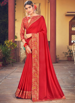 Maroon Weaving with Lace Vichitra Silk Party Wear Saree