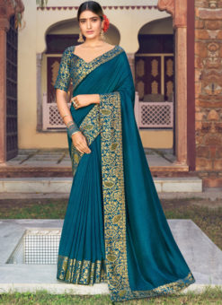 Teal Blue Weaving with Lace Vichitra Silk Party Wear Saree