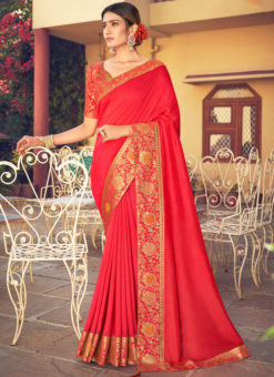 Red Weaving with Lace Vichitra Silk Party Wear Saree
