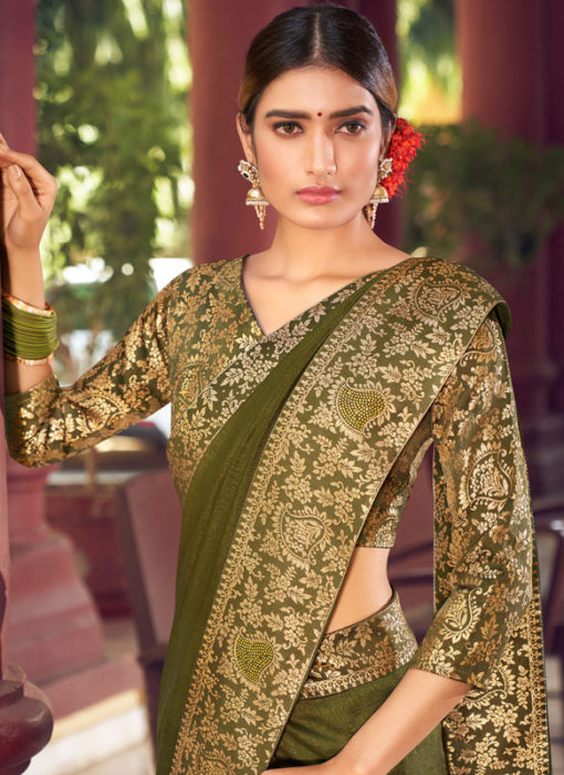 Mehendi Weaving with Lace Vichitra Silk Party Wear Saree