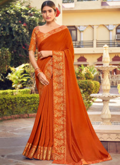 Orange Weaving with Lace Vichitra Silk Party Wear Saree
