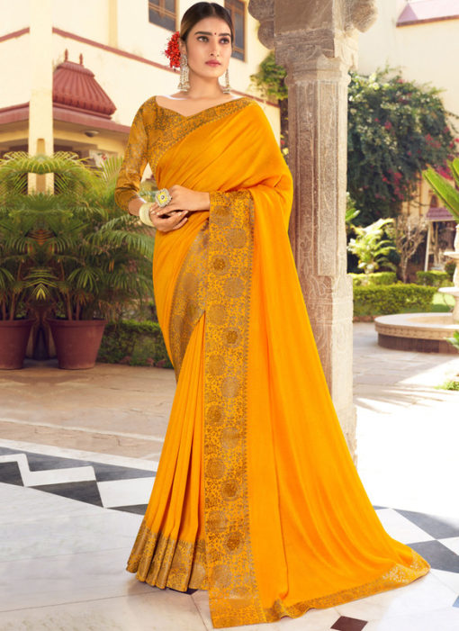 Mustard Weaving with Lace Vichitra Silk Party Wear Saree