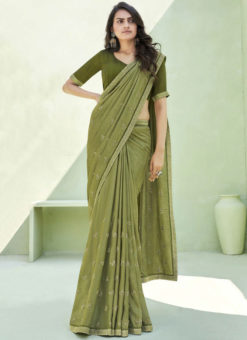 Party Wear Thread Embroidery With Lace Mehendi Designer Silk Saree