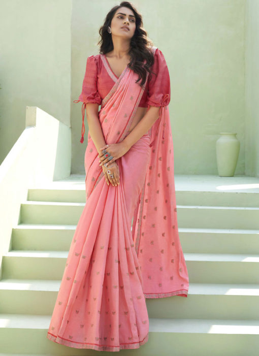 Party Wear Thread Embroidery With Lace Pink Designer Silk Saree