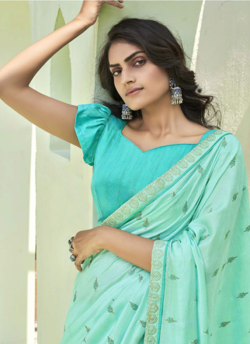 Party Wear Thread Embroidery With Lace Sea Green Designer Silk Saree