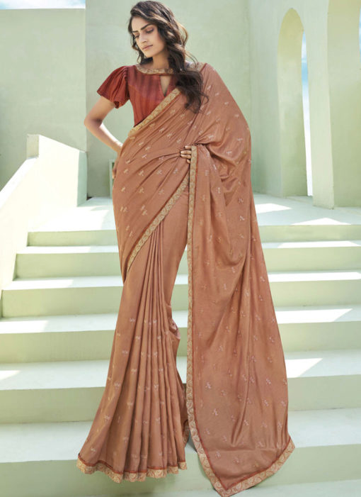 Party Wear Thread Embroidery With Lace Brown Designer Silk Saree