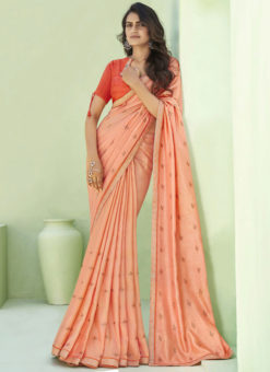 Party Wear Thread Embroidery With Lace Designer Peach Silk Saree
