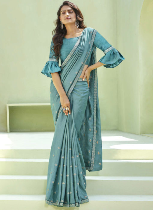 Party Wear Thread Embroidery With Lace Teal Blue Designer Silk Saree