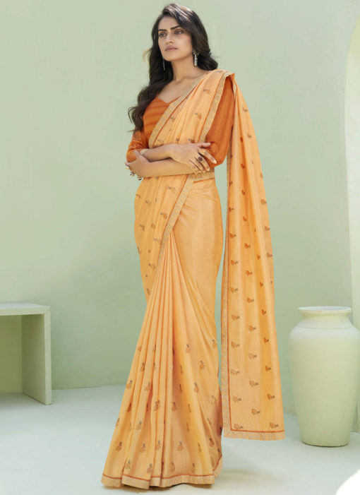 Party Wear Thread Embroidery With Lace Orange  Designer Silk Saree