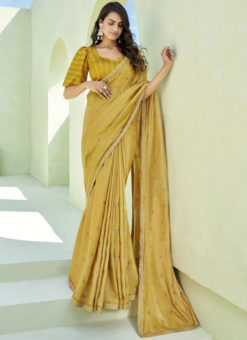 Party Wear Thread Embroidery With Lace Designer Mehendi Silk Saree