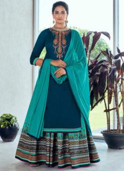 Blue Pure Jam Silk Cotton With Embroidery Work Designer Long Lehenga Suit