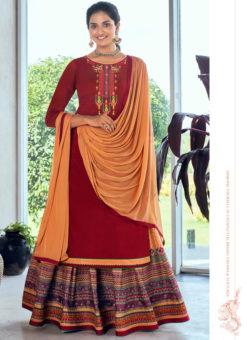 Maroon Pure Jam Silk Cotton With Embroidery Work Designer Long Lehenga Suit