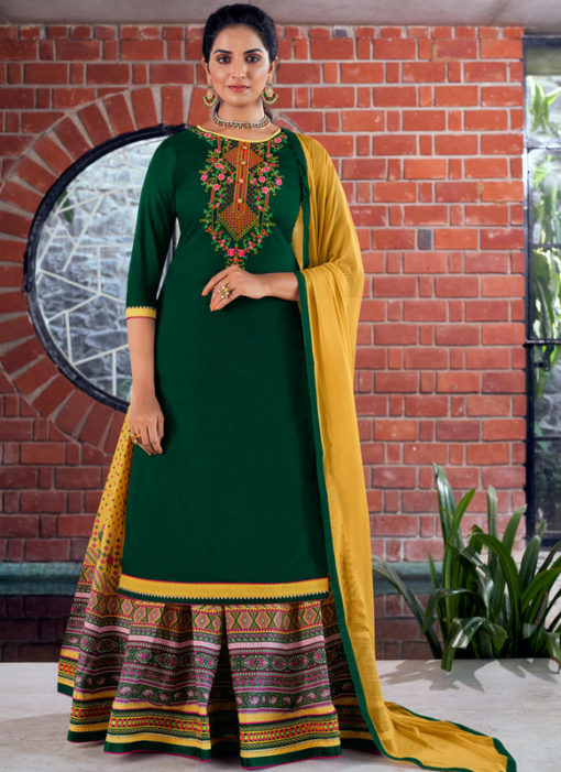 Green Pure Jam Silk Cotton With Embroidery Work Designer Long Lehenga Suit