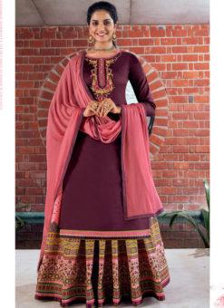 Purple Pure Jam Silk Cotton With Embroidery Work Designer Long Lehenga Suit