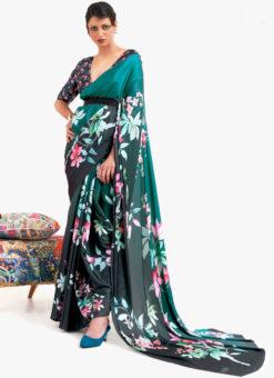 Teal Green Japanese Silk Digital Printed Casual Saree