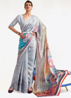 Light Grey Japanese Silk Digital Printed Casual Saree