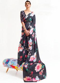 Black Japanese Silk Digital Printed Casual Saree