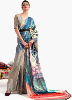Biege Japanese Silk Digital Printed Casual Saree