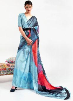 Sky Blue Japanese Silk Digital Printed Casual Saree