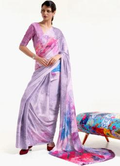 Light Purple Japanese Silk Digital Printed Casual Saree