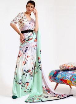 Multi Japanese Silk Digital Printed Casual Saree