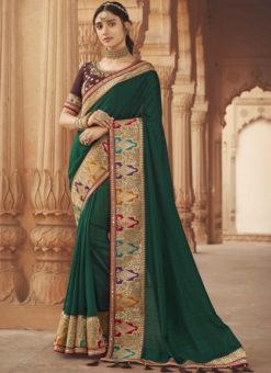 Dark Green Embroidered Patch Border With Mirror Work Cosa Silk Wedding Saree