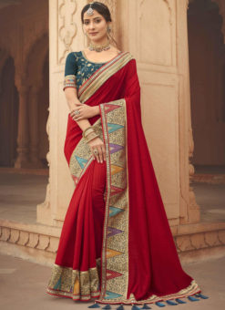 Red Embroidered Patch Border With Mirror Work Cosa Silk Wedding Saree