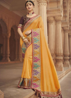 Yellow Embroidered Patch Border With Mirror Work Cosa Silk Wedding Saree