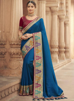 Blue Embroidered Patch Border With Mirror Work Cosa Silk Wedding Saree