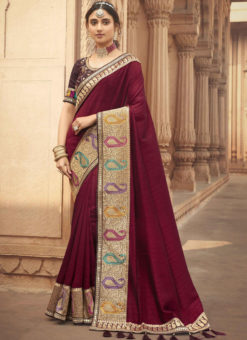 Maroon Embroidered Patch Border With Mirror Work Cosa Silk Wedding Saree