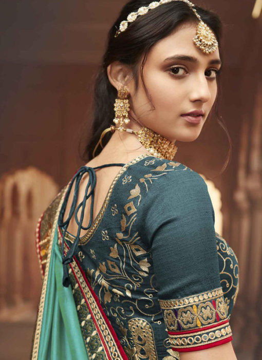 Sea Green Embroidered Patch Border With Mirror Work Cosa Silk Wedding Saree