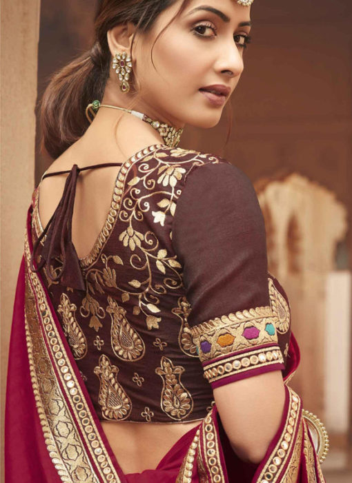 Pink Embroidered Patch Border With Mirror Work Cosa Silk Wedding Saree