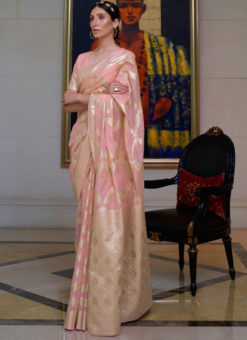Pink Pure Modal Handloom Zari Weaving Designer Saree