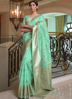 Green Pure Modal Handloom Zari Weaving Designer Saree