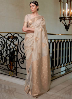Biege Pure Modal Handloom Zari Weaving Designer Saree