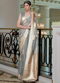 Grey Pure Modal Handloom Zari Weaving Designer Saree